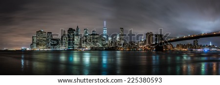 Downtown Manhattan from Brooklyn Bridge Park - stock photo