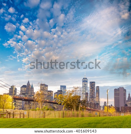 Downtown Manhattan skyline at dusk, New York City - NY - USA. - stock photo