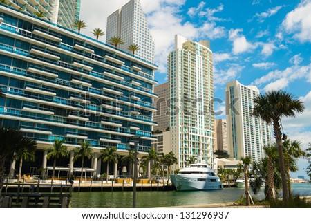 Downtown Miami along the Miami River. - stock photo