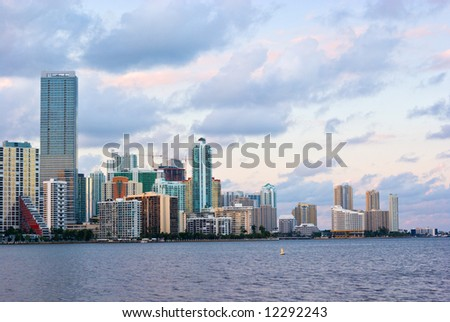 Downtown Miami Bayfront, Business District, Condos and Hotels - stock photo