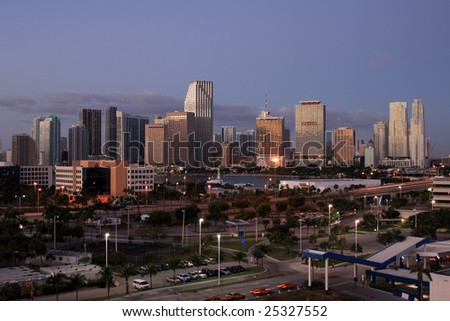 Downtown Miami Florida in the early morning. - stock photo
