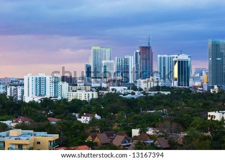 Downtown Miami Skyline at Dusk - stock photo