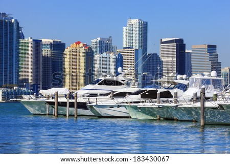Downtown Miami with blue sky and boats, Florida  - stock photo
