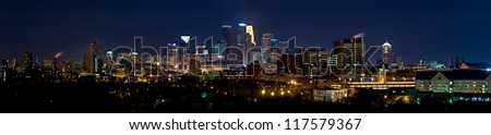 Downtown Minneapolis Minnesota (Eastern Side of the City) at Night Time. - stock photo