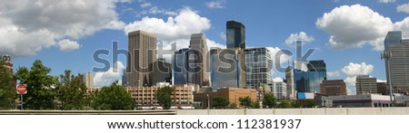 Downtown Minneapolis viewed from the northwest - stock photo
