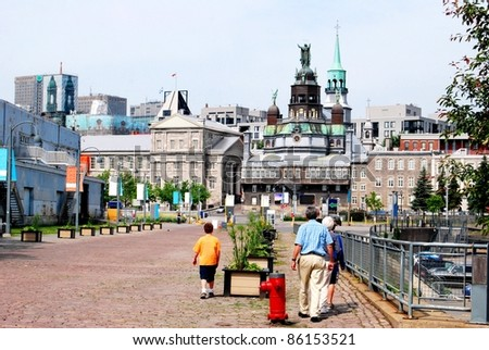 Downtown Montreal Historic Site in Quebec, Canada - stock photo