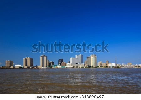Downtown New Orleans, Louisiana and the Mississippi River USA - stock photo