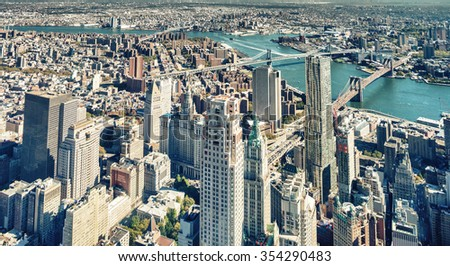 Downtown New York aerial view  with Brooklyn and Manhattan Bridges. - stock photo
