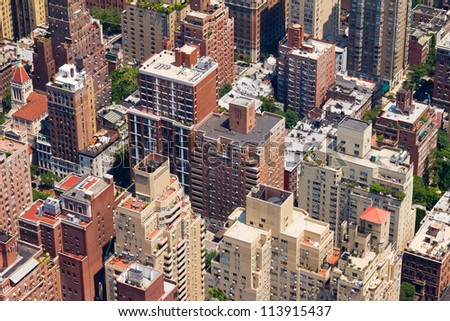 Downtown New York City Birds Eye View - stock photo
