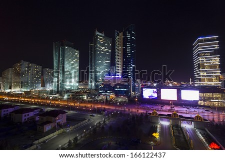 Downtown of Astana city - the capital of Kazakhstan - stock photo