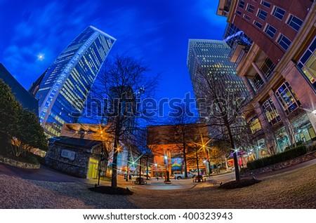 downtown of charlotte north carolina - stock photo
