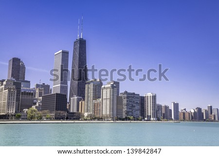 Downtown of Chicago against blue sky - stock photo