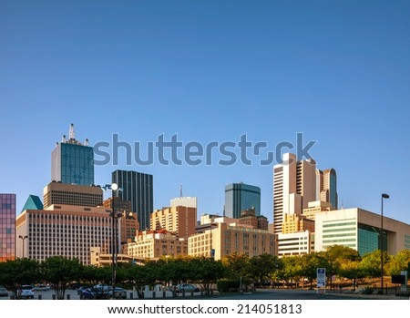 Downtown of Dallas in the evening - stock photo
