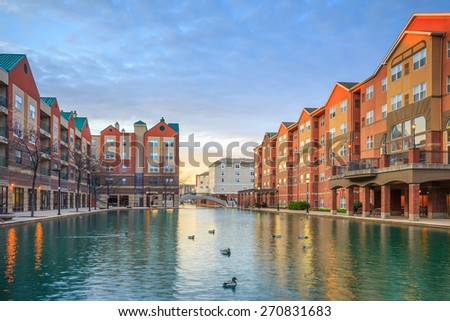Downtown of Indianapolis by Indiana Central Canal - stock photo