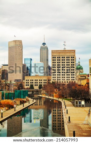 Downtown of Indianapolis in the morning  - stock photo