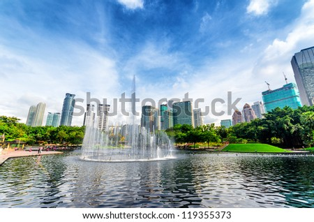 Downtown of Kuala Lumpur in KLCC district. - stock photo
