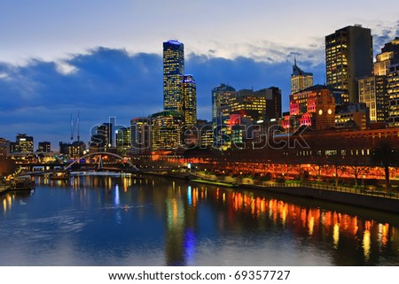 Downtown of Melbourne at night, Yarra river - stock photo