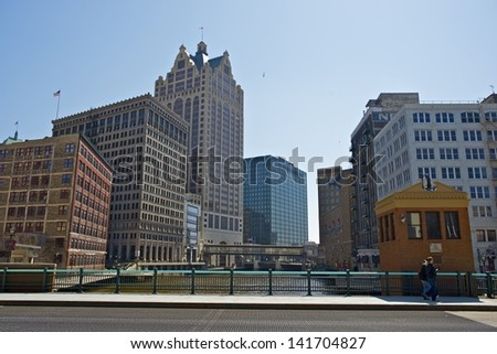 Downtown of Milwaukee Wisconsin. Milwaukee is the Largest City in the USA State of Wisconsin and is Located on the Southwestern Shore of Lake Michigan. Cities Photo Collection. - stock photo
