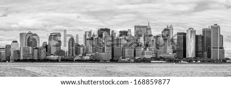 Downtown of New York, panoramic view from the ocean (black and white) - stock photo