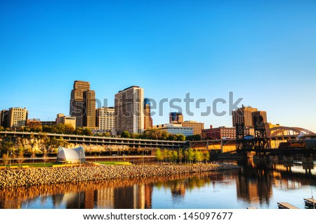 Downtown of St. Paul, MN early in the morning - stock photo