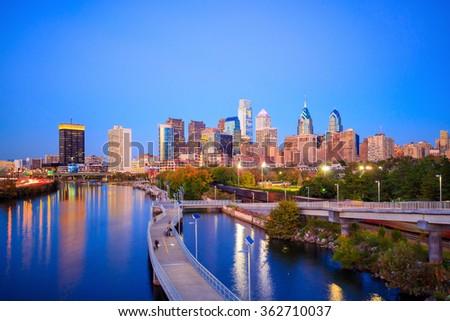 Downtown  Philadelphia Skyline in Pennsylvania at twilight - stock photo