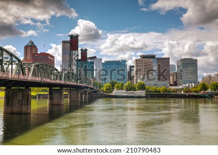 Downtown Portland cityscape on an overcast day - stock photo