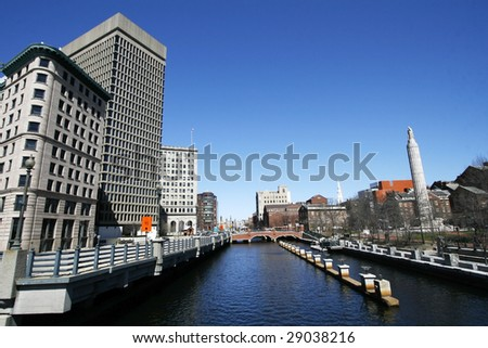 downtown providence rhode island - stock photo