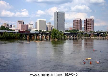 Downtown Richmond Virginia - Train on the Bridge & Kayaks in the Water - stock photo