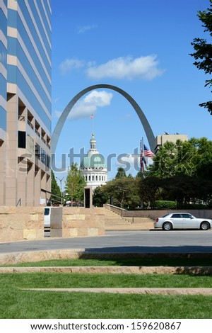 Downtown Saint Louis with view of the Arch and the Old Courthouse - stock photo