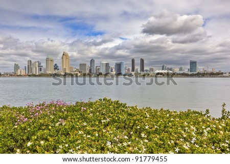 Downtown San Diego as seen from Coronado - stock photo