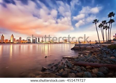 Downtown San Diego at night - stock photo