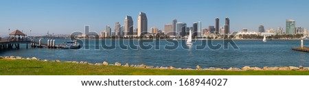 Downtown San Diego City Panorama, San Diego California USA - stock photo