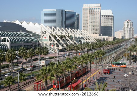 Downtown San Diego's Harbour Drive, including the convention center and trolley. - stock photo