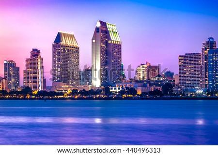 Downtown San Diego sunset.  California USA. - stock photo