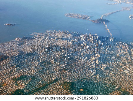 Downtown San Francisco city skyline at sunset from above - stock photo