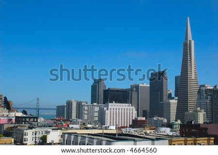 Downtown San Francisco from a rooftop overlooking Chinatown and North Beach - stock photo