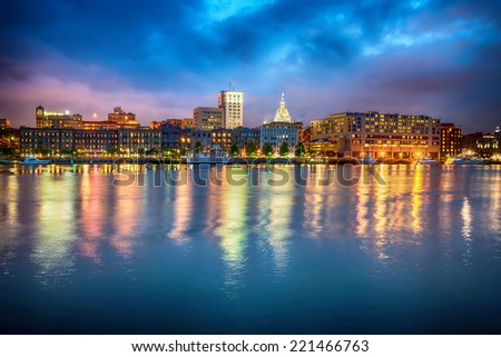 Downtown Savannah , Georgia, along riverfront at night  - stock photo