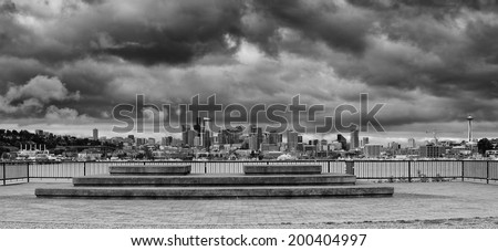 Downtown Seattle Panorama from GasWorks Park - stock photo