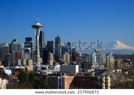 Downtown Seattle, WA, USA - Feb 28, 2015. Downtown Seattle, WA, USA - stock photo