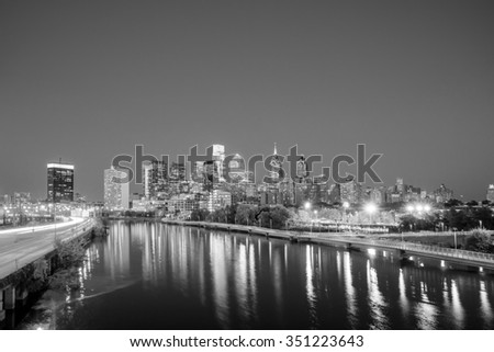 Downtown Skyline of Philadelphia, Pennsylvania at twilight - stock photo
