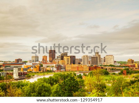 Downtown St. Paul, MN and Mississippi river - stock photo