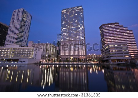 Downtown Tampa seen evening time. - stock photo