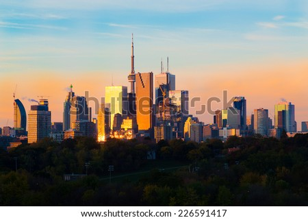 Downtown Toronto at Sunrise - stock photo