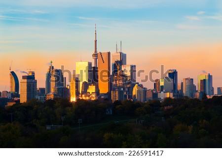 Downtown Toronto at Sunrise - stock photo