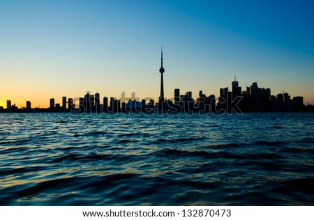 Downtown Toronto from central island - stock photo