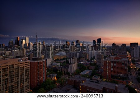 Downtown Toronto in blue hour. The view from one of my friends balcony, Toronto, Ontario, Canada.  - stock photo