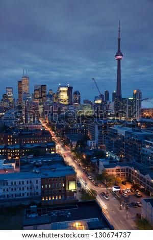 Downtown Toronto skyline at night - stock photo