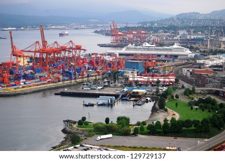 Downtown Vancouver Cruise Ship Port Aerial view , Canada - stock photo