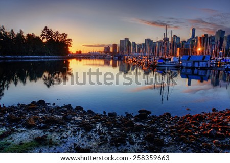 Downtown Vancouver marina at sunset - stock photo
