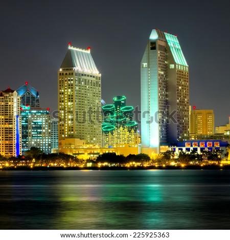 Downtown View of San Diego California at Night, USA - stock photo